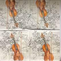 """Салфетка 33*33 см """"Скрипка"""" - Флора и фауна"""