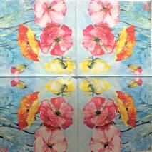 """Салфетка 33*33 см """"Цветы на голубом фоне"""" - Флора и фауна"""