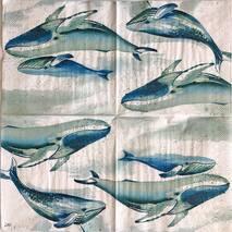 """Салфетка 33*33 см """"Киты"""" - Морские мотивы"""