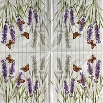 """Салфетка 33*33 см """"Лаванда и бабочки 2"""" - Флора и фауна"""