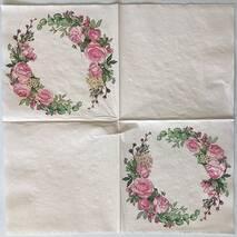 "Салфетка 33*33 см ""Розовый венок"" - Флора и фауна"