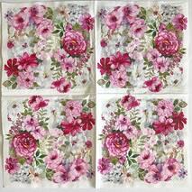 """Салфетка 33*33 см """"Цветы розовые"""" - Флора и фауна"""