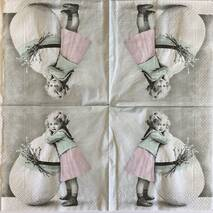 """Салфетка винтажная 33*33 см """"Девочка и яйцо"""" - Винтажные салфетки"""