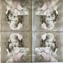"""Салфетка винтажная 33*33 см """"Девочка с куклой"""" - Винтажные салфетки"""