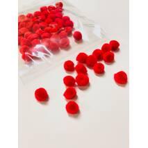 Помпон для творчества 10 мм, красный, 65 штук - Фетр