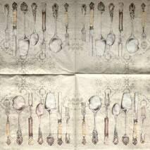 "Салфетка 33*33 см ""Приборы"" - Кухонная тематика и еда"
