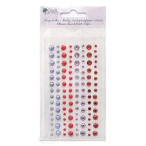 Набор клеевых страз-жемчужин, красно-лиловый микс, 120 шт. - Объемные элементы