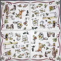 """Салфетка 33*33 см """"Еноты, мыши и медведи"""" - Салфетки"""