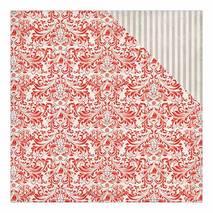 """Бумага для скрапбукинга, 30,5 х 30,5 см, """"Красный узор/Полоски"""", Authentique - Двухсторонняя скрап бумага"""