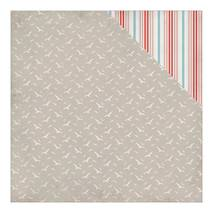 """Бумага для скрапбукинга, 30,5 х 30,5 см, """"Чайки/красные и голубые полоски"""", Authentique - Двухсторонняя скрап бумага"""