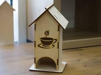 """Заготовка """"Чайный домик с чашкой"""", 80х80х210 мм - Чайные домики"""