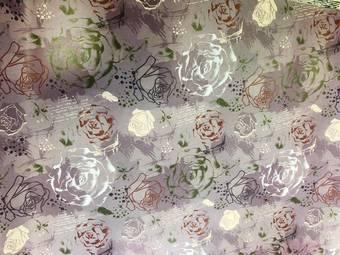 """Упаковочная бумага """"Розы лиловая"""" 51*72 см - Упаковочные пакеты"""