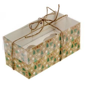 """Коробочка для кексов """"Новогодние елочки"""", 8х16х7,5 см - Упаковка"""