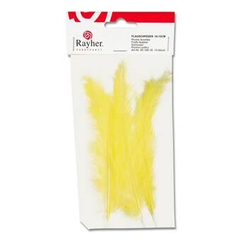 Перья маленькие, 10-15 см, упаковка 15 шт, цвет желтый - Перья