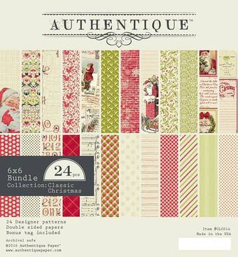 "Бумага для скрапбукинга, 15 х 15 см, ""Classic Christmas"", Authentique - Бумага для скрапбукинга"